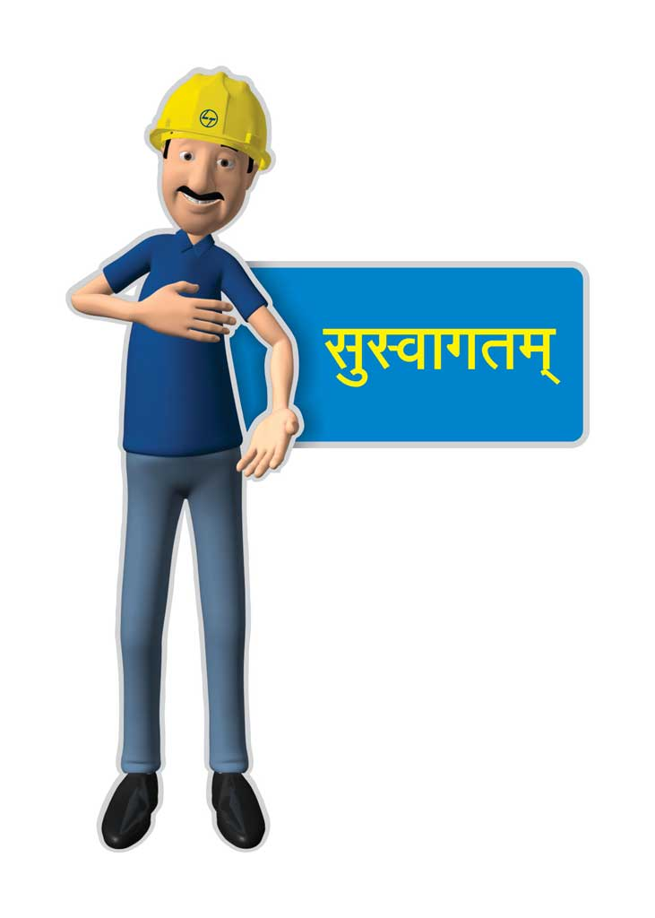 Larsen & Toubro, Pithampur- Venue branding, 3D full Character Design- welcome/ Suswagatam, mnemonic installation & billboards